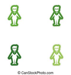 Set of paper stickers on white background groom suit