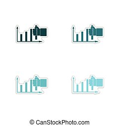 Set of paper stickers on white background hand graph