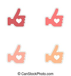 Set of paper stickers on white background heart hand