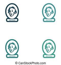 Set of paper stickers on white background Albert Einstein