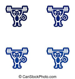 Set of paper stickers on white background monkey weightlifter