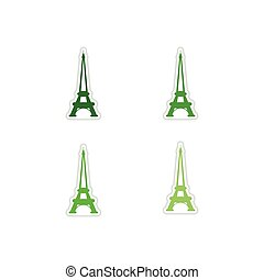 Set of paper stickers on white background  Eiffel Tower