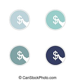 Set of paper stickers on white background money in hand