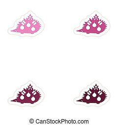 Set of paper stickers on white background hedgehog gifts