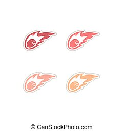 Set of paper stickers on white background meteorite