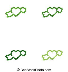 Set of paper stickers on white background arrow heart