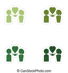 Set of paper stickers on white background lovers eating