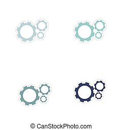 Set of paper stickers on white background gears