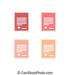 Set of paper stickers on white background legal document