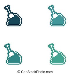Set of paper stickers on white background snow and shovel