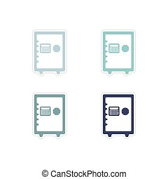 Set of paper stickers on white background safe