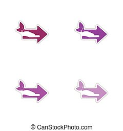Set of paper stickers on white background arrow hand