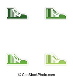 Set of paper stickers on white background gumshoes