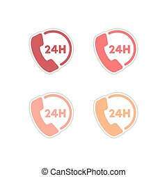 Set of paper stickers on white background hotline