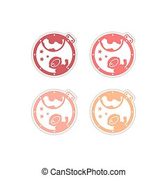 Set of paper stickers on white background cosmonaut