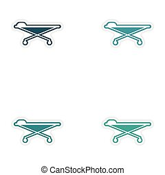 Set of paper stickers on white background medical stretcher