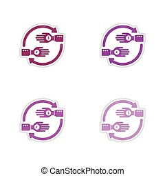 Set of paper stickers on white background coins in hand