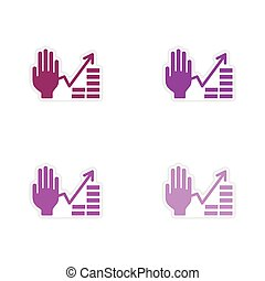 Set of paper stickers on white background hand financial chart