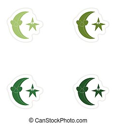 Set of paper stickers on white background moon star