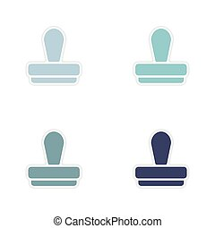 Set of paper stickers on white background seal