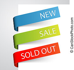 Set of paper tags for new, sold out and discounted items