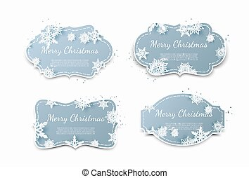 Set of paper tags with blue christmas background.