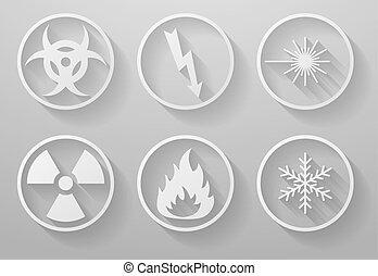 Set of paper warning signs