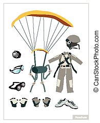Set of Parachute Equipment on White Background