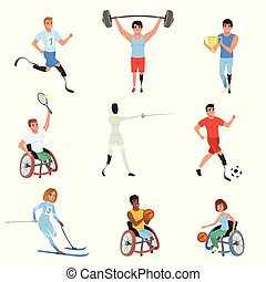 Set of Paralympics athletes with physical disabilities....