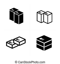 set of parcel box icons