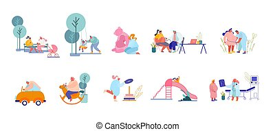 Set of Parents Male Female Characters Playing with Children on Playground. Women Prepare for Child Birth Visiting Doctor