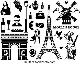 Paris icons - Set of Paris icons. Cosmetics and Arc de ...