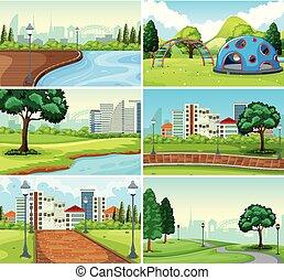 Set of park background