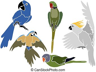 Set of Parrots Icons