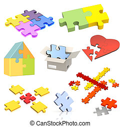 Set of parts of a puzzle