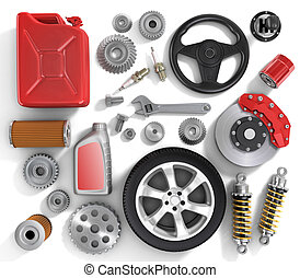 Set of parts of car.