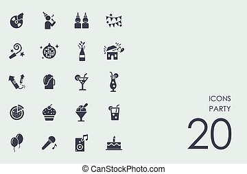 Set of party icons - party vector set of modern simple icons
