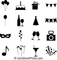 Set of party icons, vector illustration