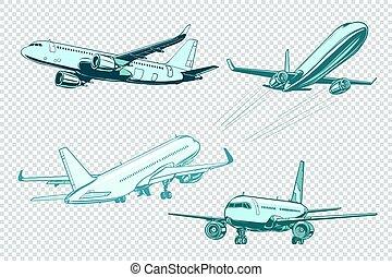 Set of passenger airplanes