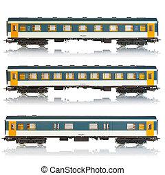 Set of passenger railroad cars