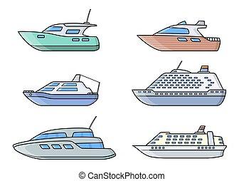 Set of passenger ships. Sea transportation liners. Yachts set.