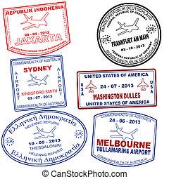 Set of passport grunge stamps - Passport grunge stamps from...