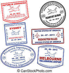Set of passport grunge stamps - Passport grunge stamps from...