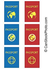 Set of passports red and blue