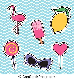 set of patches or stickers cute cartoon icons
