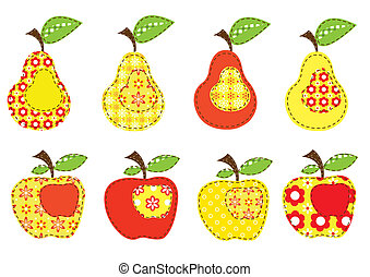 set of patchwork apples and pears