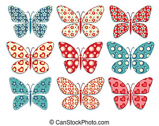 Set of patchwork butterflys 1.