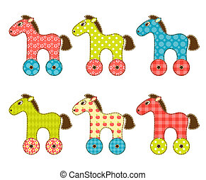 Set of patchwork horses 1.