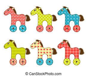 Set of patchwork horses 1.