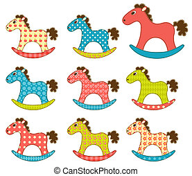 Set of patchwork horses 3.